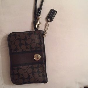 Coach Black and Brown Leather Wristlet